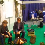 "Karin Hogh and Lars Jensen ""roasting"" marshmallows at DONA's Webcamp."